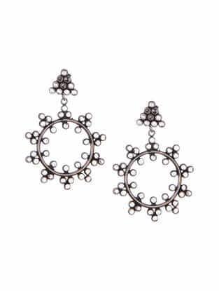 Crystal Tribal Silver Earrings