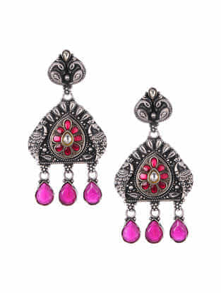 Maroon Tribal Silver Kundan Earrings