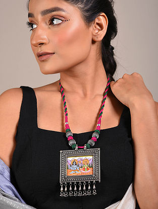 Multicolored Handpainted Tribal Silver Necklace