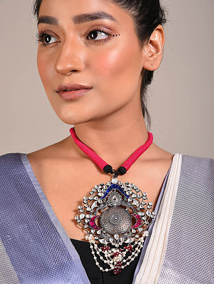 Maroon Blue Kundan Tribal Silver Thread Necklace with Pearls