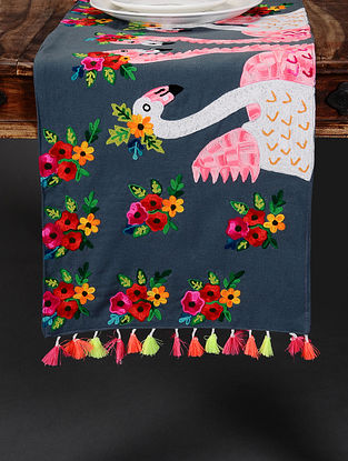 Flamingo Grey Hand Crewel-Embroidered Cotton Table Runner (36in x 14in)