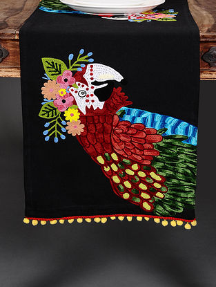 Parrot Black Hand Crewel-Embroidered Cotton Table Runner (36in x 14in)