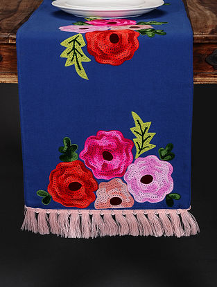 Floral Navy Blue Hand Crewel-Embroidered Cotton Table Runner (36in x 14in)