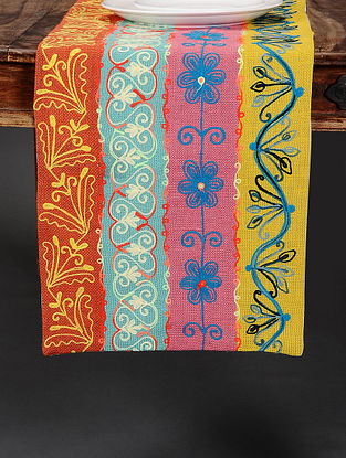 Suzzani Multicolor Hand Crewel-Embroidered Jute Table Runner (36in x 14in)