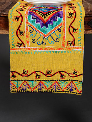 Suzzani Yellow Hand Crewel-Embroidered Jute Table Runner (36in x 14in)