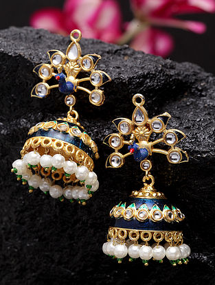 Blue Gold Plated Handcrafted Jhumkis with Pearls