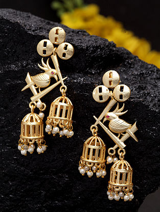 Gold Plated Handcrafted Jhumkis with Pearls