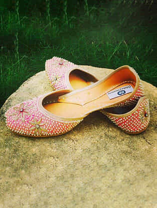 Pink Handcrafted Silk and Leather Juttis