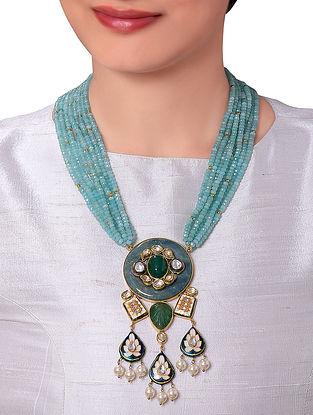 Turquoise Green Gold Tone Kundan Necklace