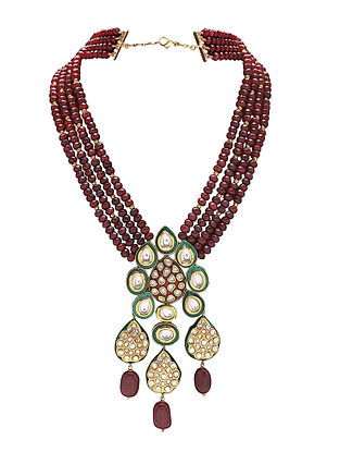 Maroon Gold Tone Kundan and Meenakari Necklace