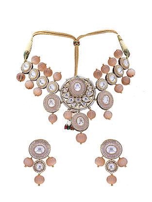Orange Gold Tone Kundan Choker Necklace with Earrings