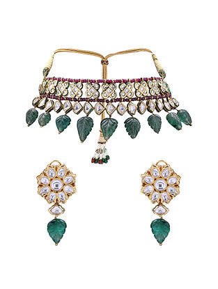Green Red Gold Tone Kundan Choker Necklace with Earrings