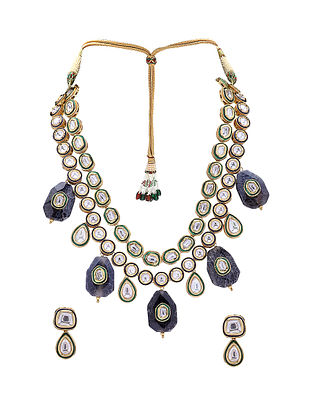 Black Gold Tone Kundan Necklace with Earrings