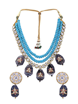 Turquoise Black Gold Tone Kundan Necklace with Earrings