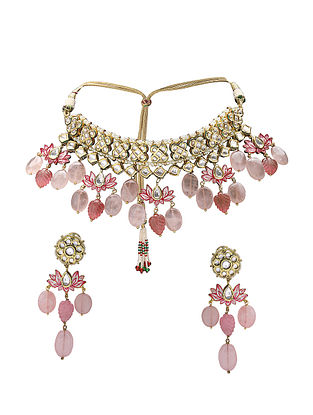 Pink Gold Tone Kundan Choker Necklace with Earrings