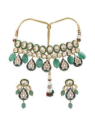 Green Blue Gold Tone Kundan and Meenakari Choker Necklace with Earrings