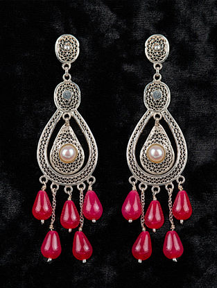 Red Filigree Silver Earrings