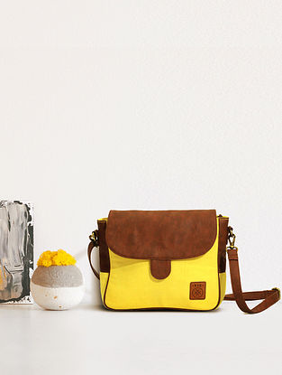 Yellow Handcrafted Canvas Sling Bag