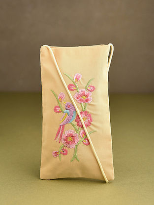 Beige Embroidered Mobile Sling