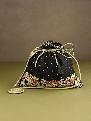 Black Hand Embroidered Silk Potli