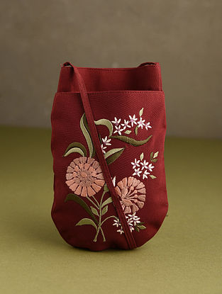 Red Embroidered Mobile Sling