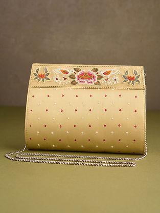 Beige Hand Embroidered Silk Clutch
