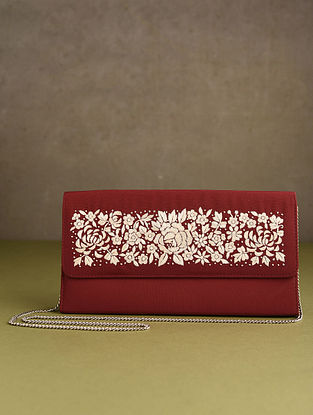 Red Hand Embroidered Silk Clutch