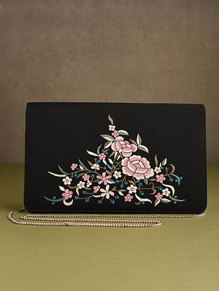 Black Hand Embroidered Silk Clutch
