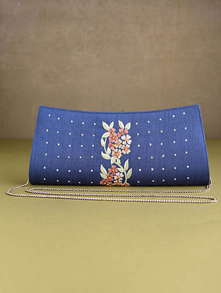 Blue Hand Embroidered Silk Clutch