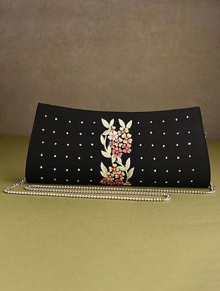 Black Hand Embroidered Silk Clutch