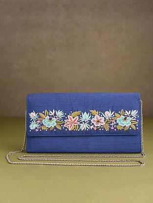 Blue Hand Embroidered Silk Clutch