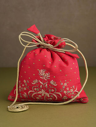Red Hand Embroidered Silk Potli