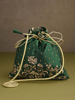Dark Green Hand Embroidered Silk Potli