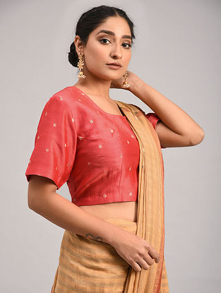 Red Chanderi Jacquard Blouse