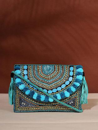 Blue Handcrafted Jute Boho Sling Bag
