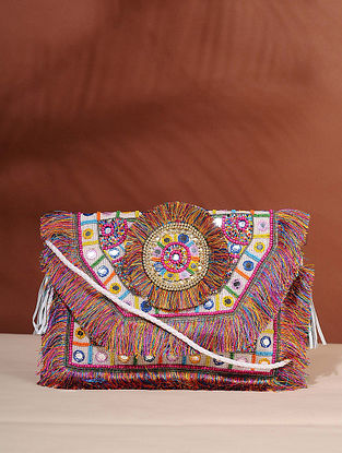 Multicolored Handcrafted Jute Boho Sling Bag