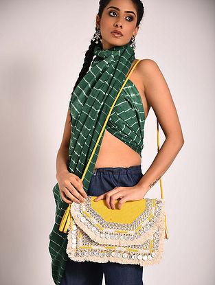 Yellow Handcrafted Jute Boho Sling Bag