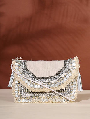 Cream Handcrafted Jute Boho Sling Bag