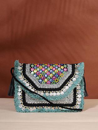 Green Handcrafted Jute Boho Sling Bag