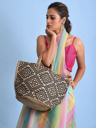 Brown Black Handblock Printed Jute Tote Bag