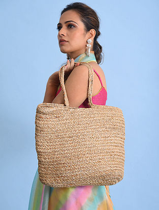 Brown Handcrafted Jute Tote Bag