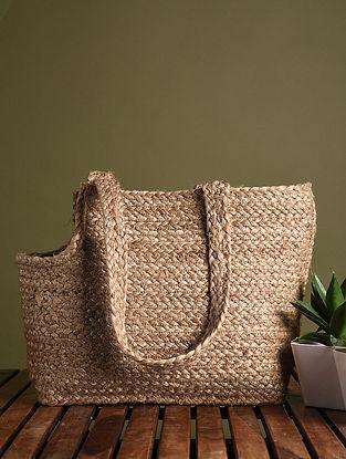 Brown Handcrafted Jute Tote Bag