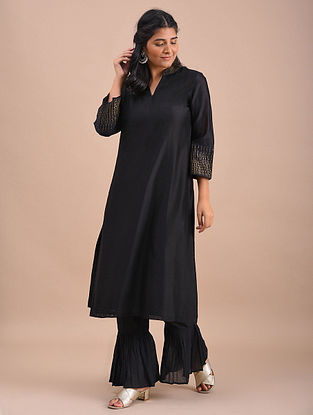 Black Hand Embroidered Chanderi Kurta