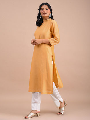 Light Mustard Hand Embroidered Chanderi Kurta