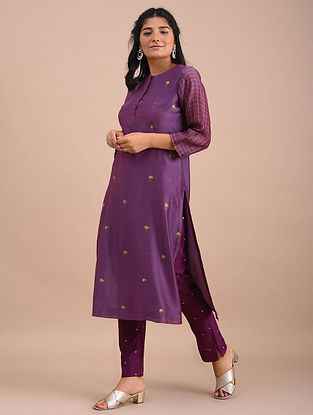Mauve Hand Embroidered Chanderi Kurta