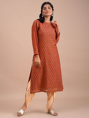 Vermillion Embroidered Chanderi Kurta