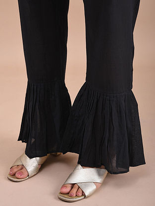Black Cotton Sharara Pants