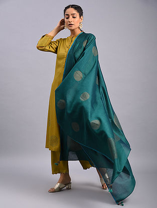 Teal Hand Block Printed Chanderi Dupatta