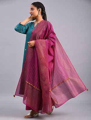 Pink Hand Block Printed Chanderi Dupatta with Embroidery
