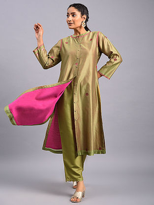 Olive Green Embroidered Chanderi Kurta